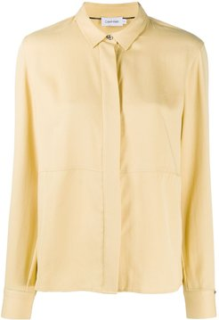 panelled long-sleeved shirt - Yellow