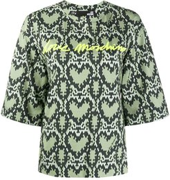 heart-pattern 3/4 sleeve sweatshirt - Green