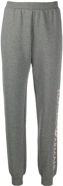side logo print fitted cuff track pants - Grey