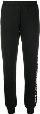 side logo print fitted cuff track pants - Black