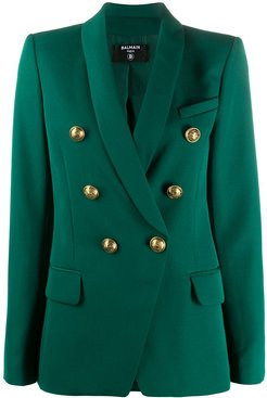 fitted double-breasted blazer - Green