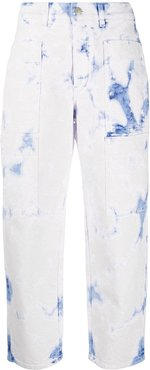 acid-wash cropped jeans - White