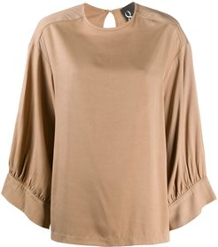 crew neck loose-fit blouse - Neutrals