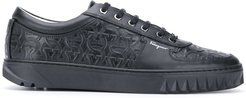 Gancini-embossed sneakers - Black