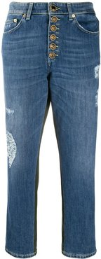cropped patchwork jeans - Blue