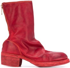 creased-effect boots - Red