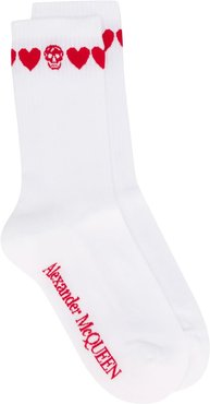 love heart skull socks - White
