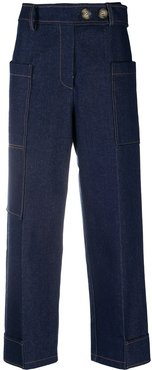 high-rise cropped trousers - Blue