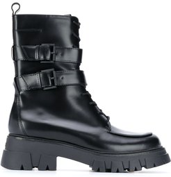 buckle detail combat-boots - Black