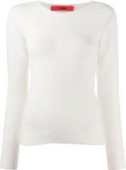 round neck jumper - White