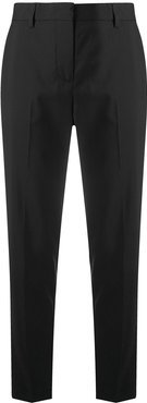 high-waist tapered trousers - Black