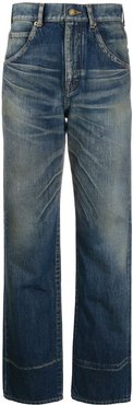 faded high-rise jeans - Blue