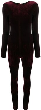 long-sleeved velvet bodysuit - Red