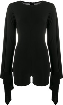draped sleeves playsuit - Black
