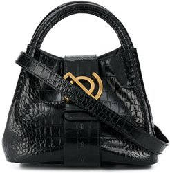 crocodile-effect small tote bag with gold hardware - Black