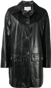 lambskin leather button-up coat - Black