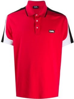panelled short-sleeved polo shirt - Red