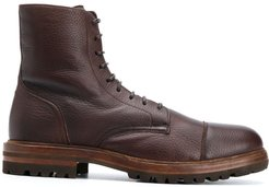 low-heel lace-up ankle boots - Brown