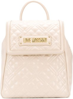 quilted logo backack - Neutrals