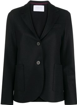 single-breasted fitted blazer - Black