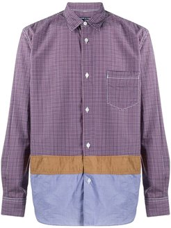 panelled checked cotton shirt - Red