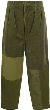 corduroy panelled cropped trousers - Green