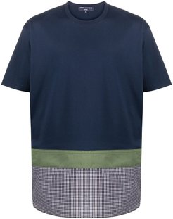 checked panel cotton T-shirt - Blue