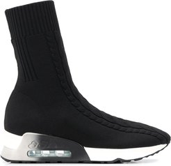 sock-style high-top sneakers - Black