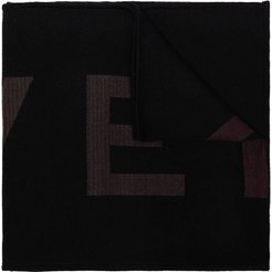 logo knitted scarf - Black