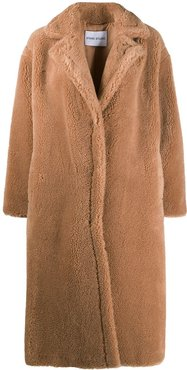 shearling single-breasted coat - Brown