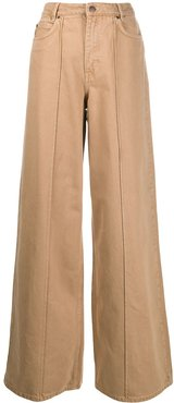 high-rise wide leg jeans - Brown