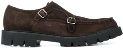 double-buckle monk shoes - Brown