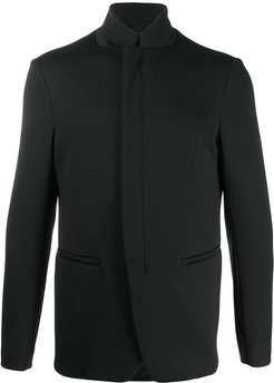 textured zip-up blazer - Black