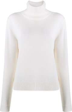 roll neck knit pullover jumper - White