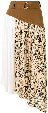 printed asymmetric skirt - Brown
