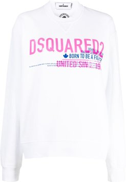 logo print cotton sweatshirt - White