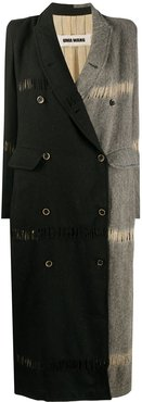 two-tone double-breasted coat - Black