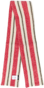 striped knitted scarf - Red