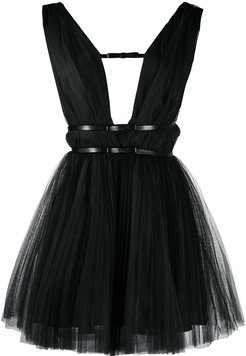 deep-v neck tulle dress - Black