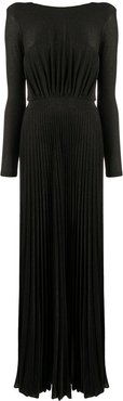 pleated open-back gown - Black