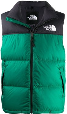 logo embroidered zip-up gilet - Green