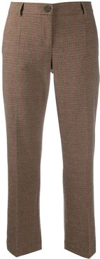 checked cropped trousers - Brown