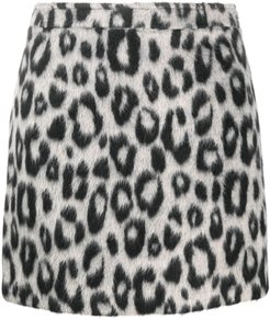 leopard-print felt mini skirt - Neutrals
