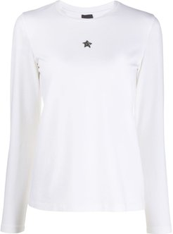 star plaque longsleeved T-shirt - White