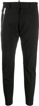 zipped pocket cropped trousers - Black