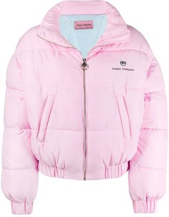 embroidered logo puffer jacket - PINK