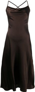 Delphina satin midi dress - Brown