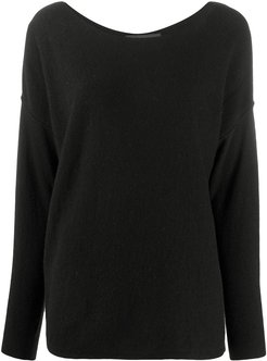 long-sleeve knitted top - Black