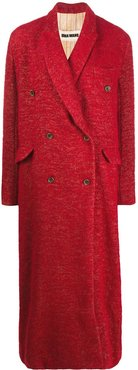 double breasted long coat - Red