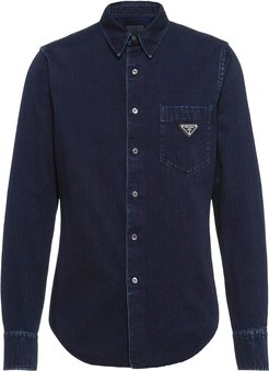 button-up denim shirt - Blue